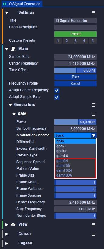 IQ Signal Generator LIGHT is limited to qam16