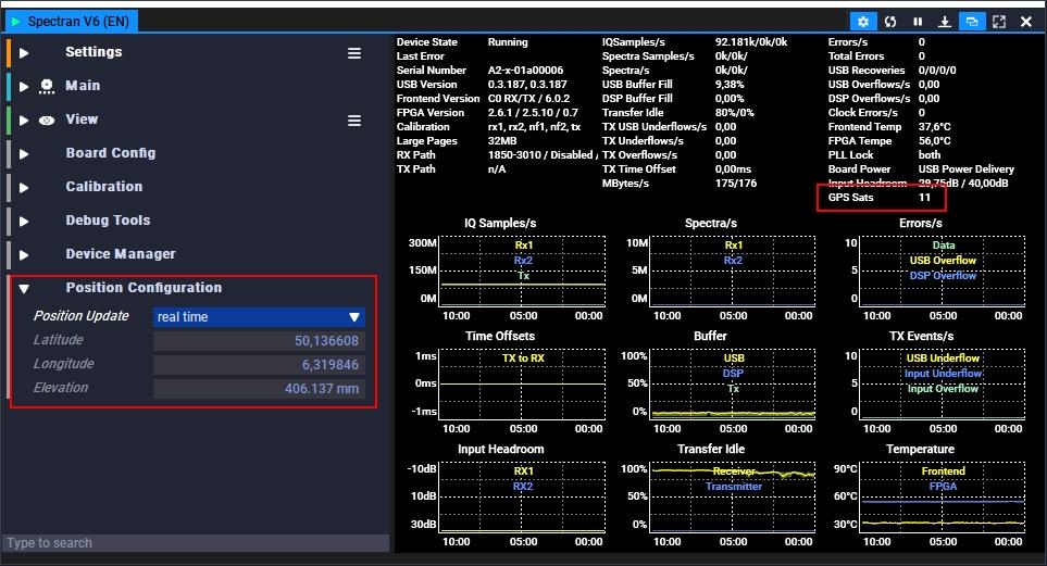 SPECTRAN V6 Position Configuration
