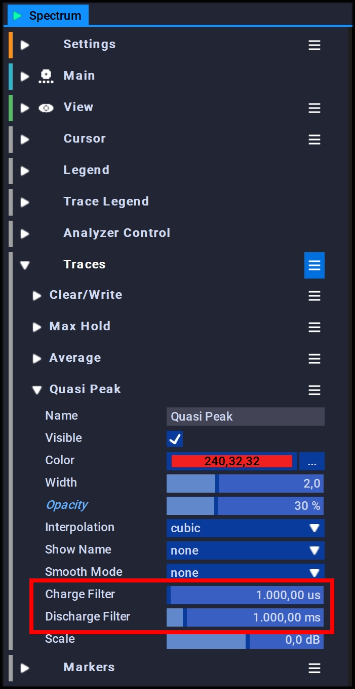 Adjust the Quasi Peak Detector Charge and Discharge Time