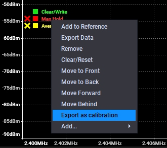 Export max Hold as Calibration Data