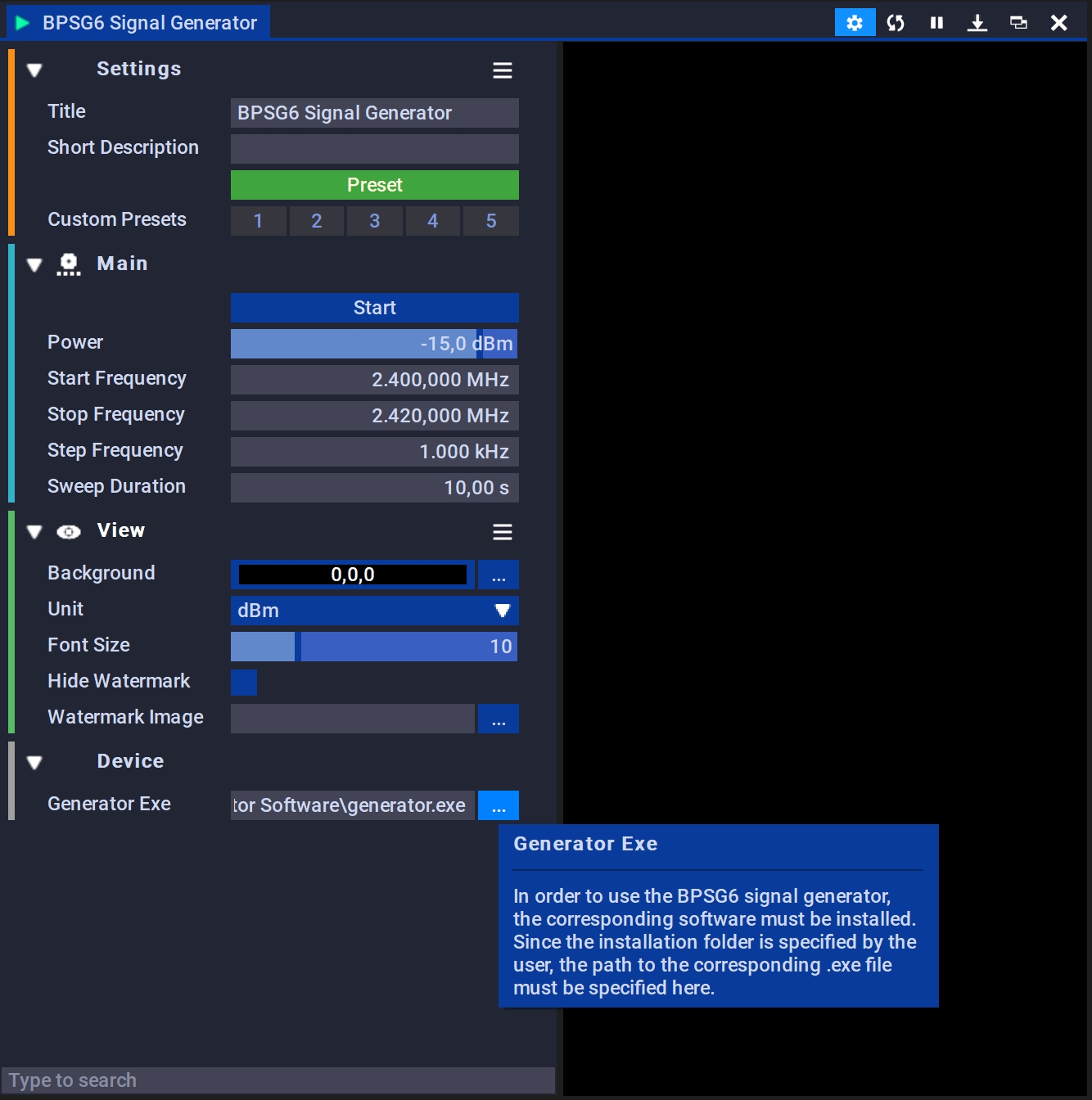BPSG6 Signal Generator | Configuration
