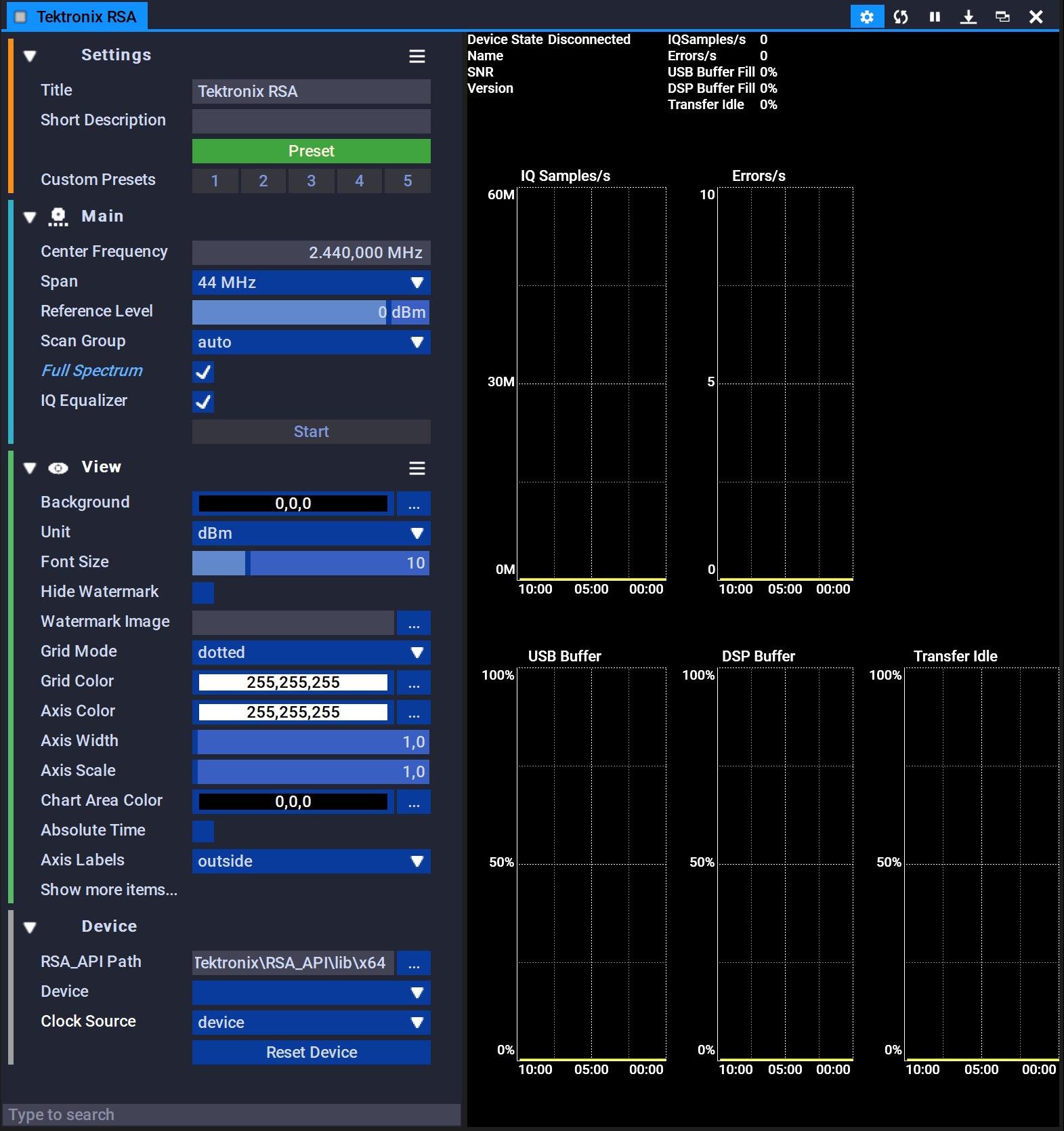 Tektronix RSA | Block Settings