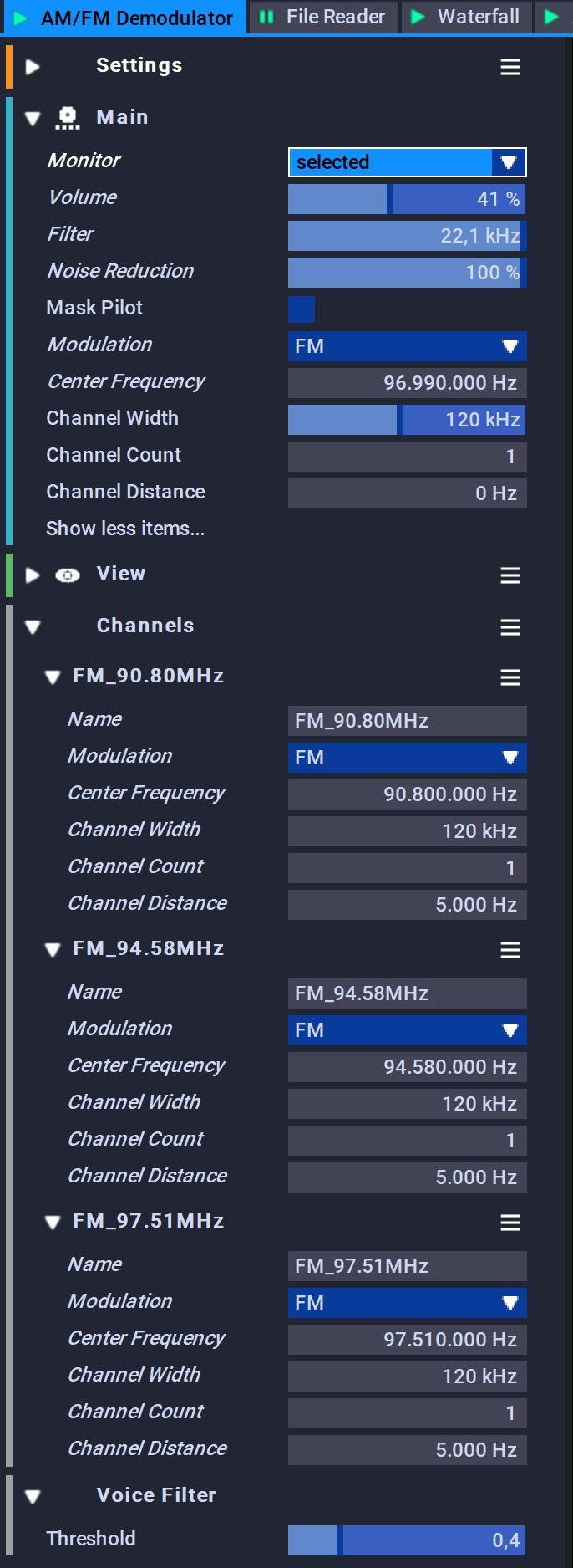 AM / FM Demodulator Settings
