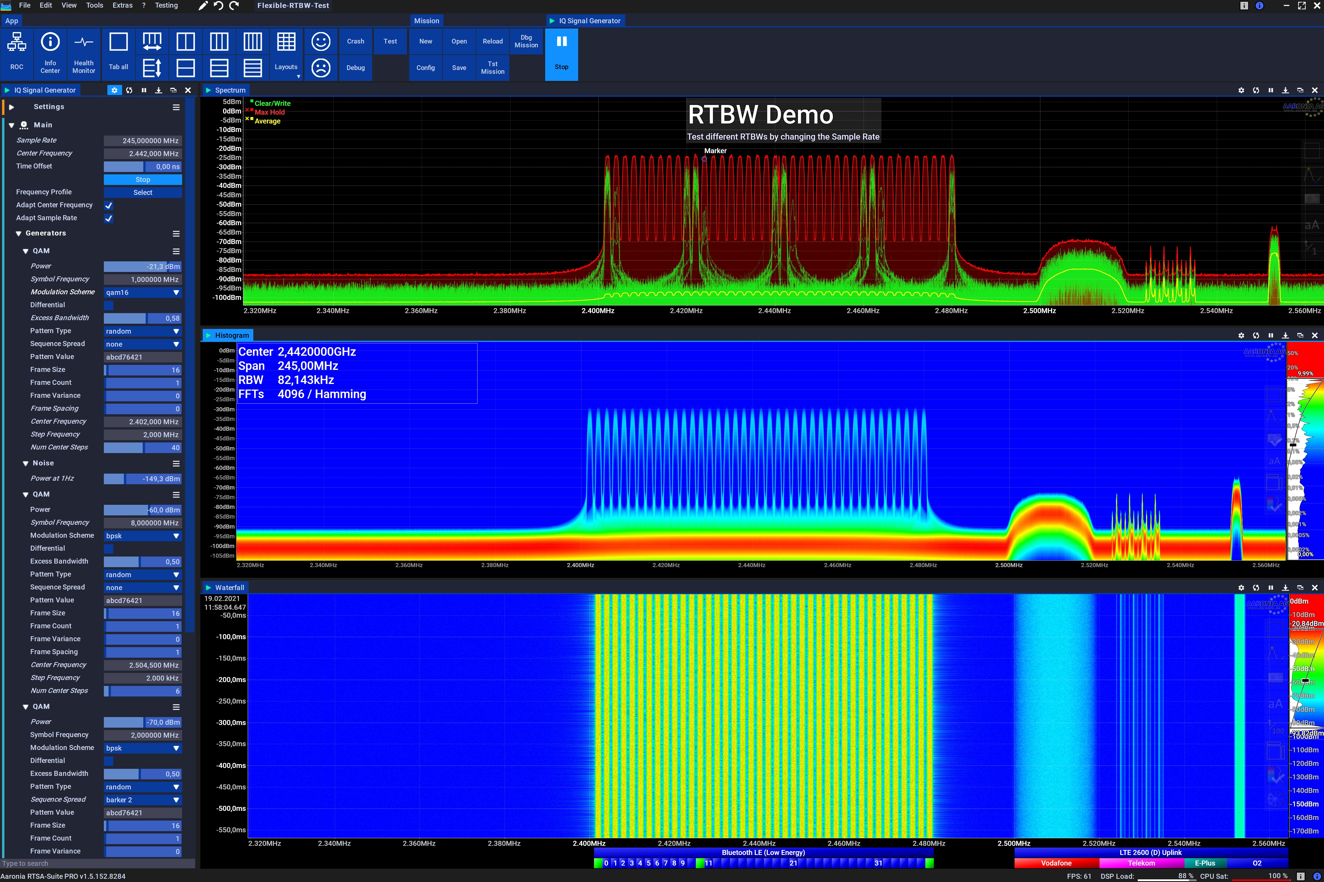 245MHz IQ Real-Time Bandwidth Spectrum Demo