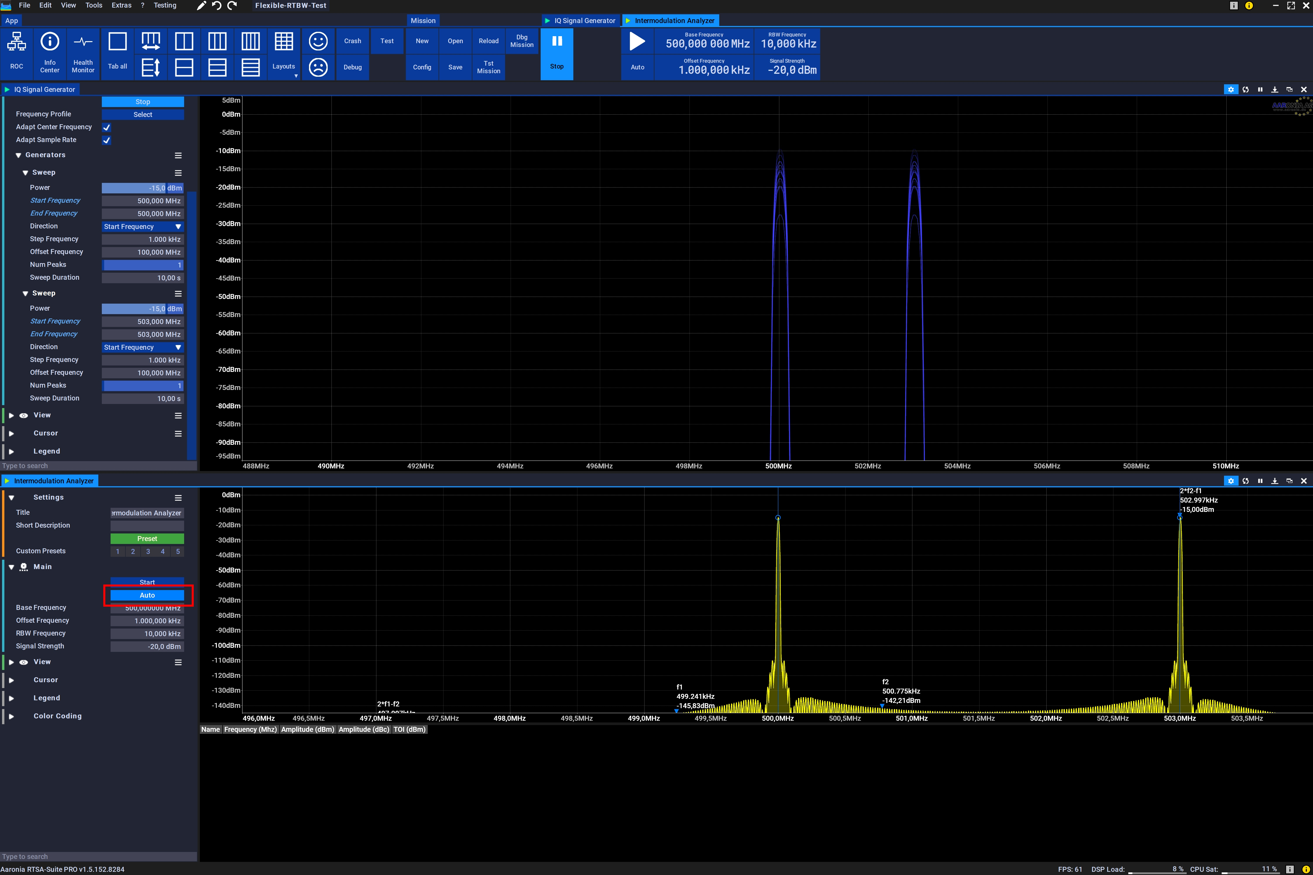 Intermodulation Analyzer: Click on AUTO