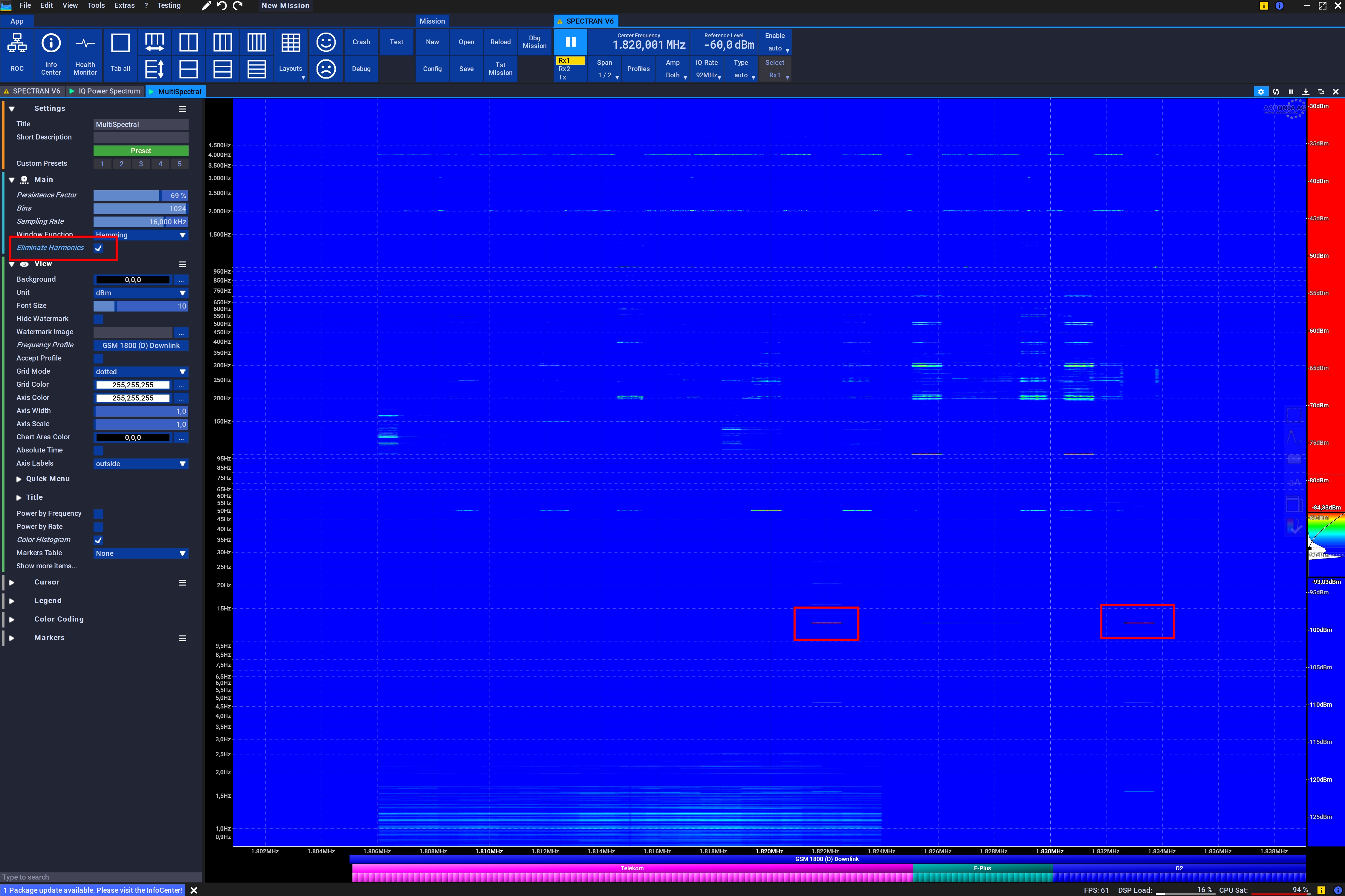 MultiSpectral showing all LTW Basestations and corresponding pulsed signals