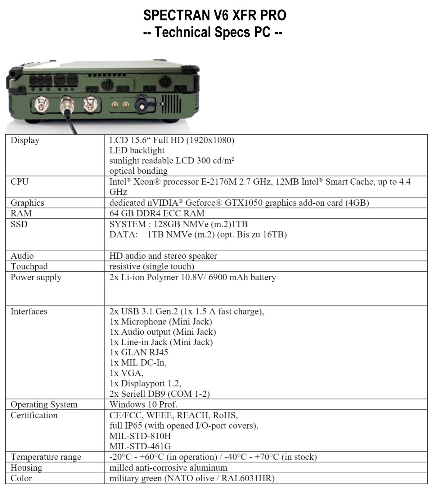Counter Surveillance Military Laptop SPECTRAN V6 XFR PRO