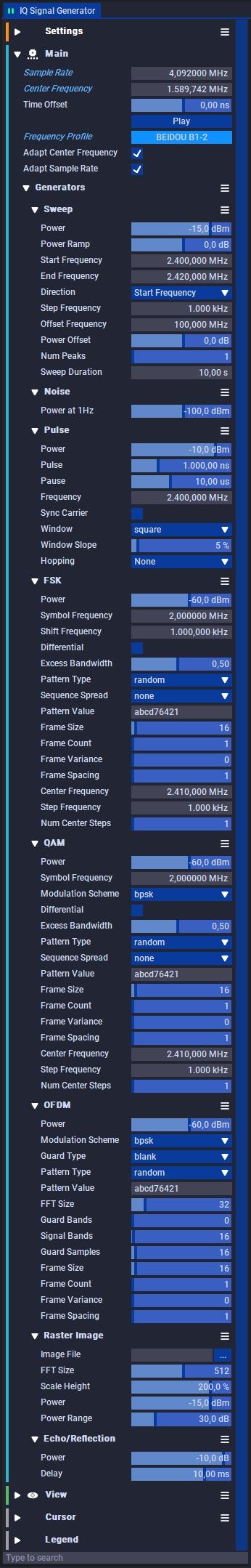 IQ Signal Generator Settings
