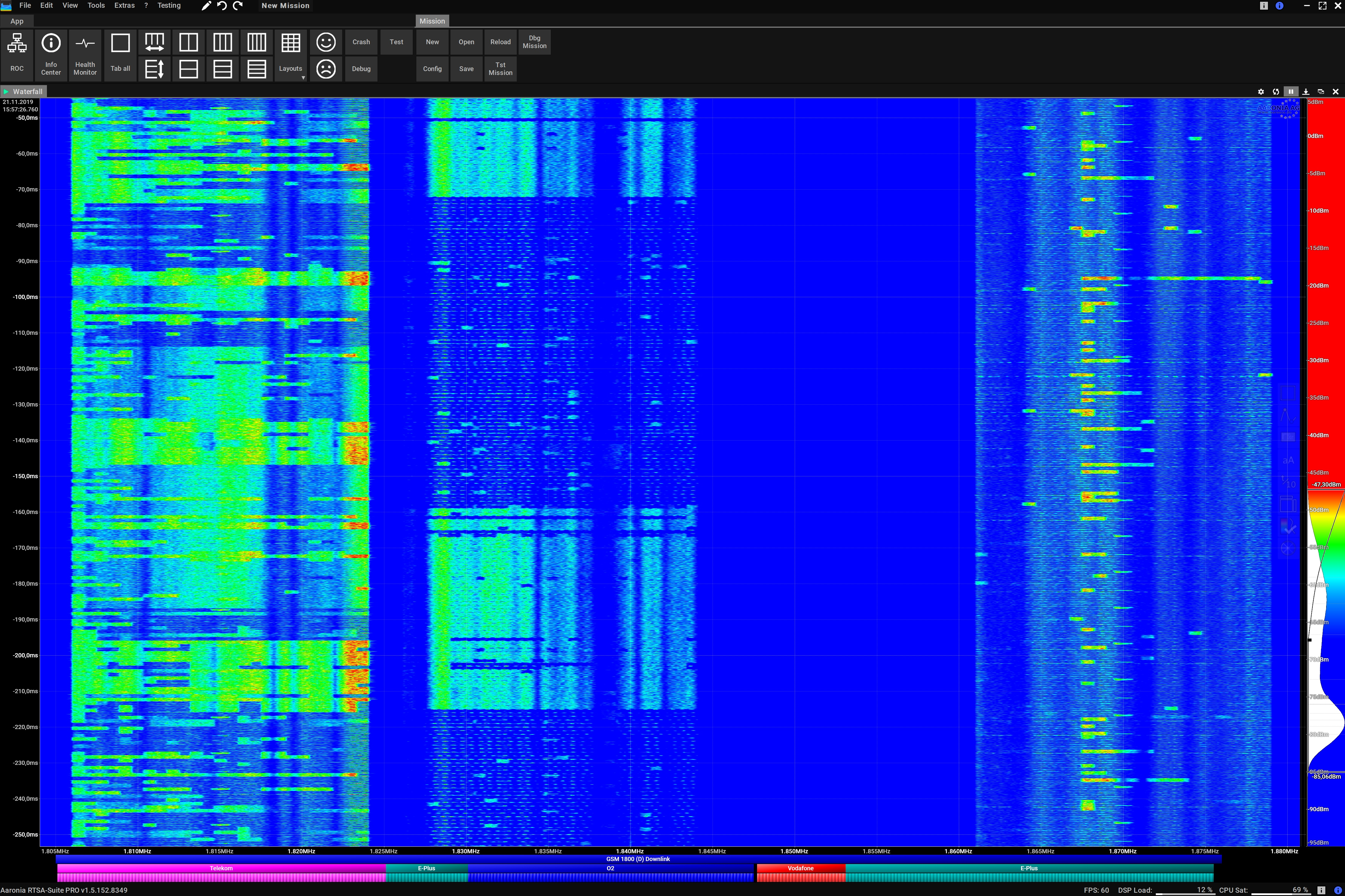Waterfall View Wide Band Monitoring Screenshot