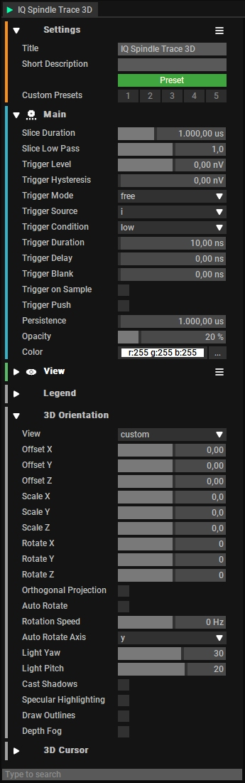 IQ Spindel Trace 3D Settings