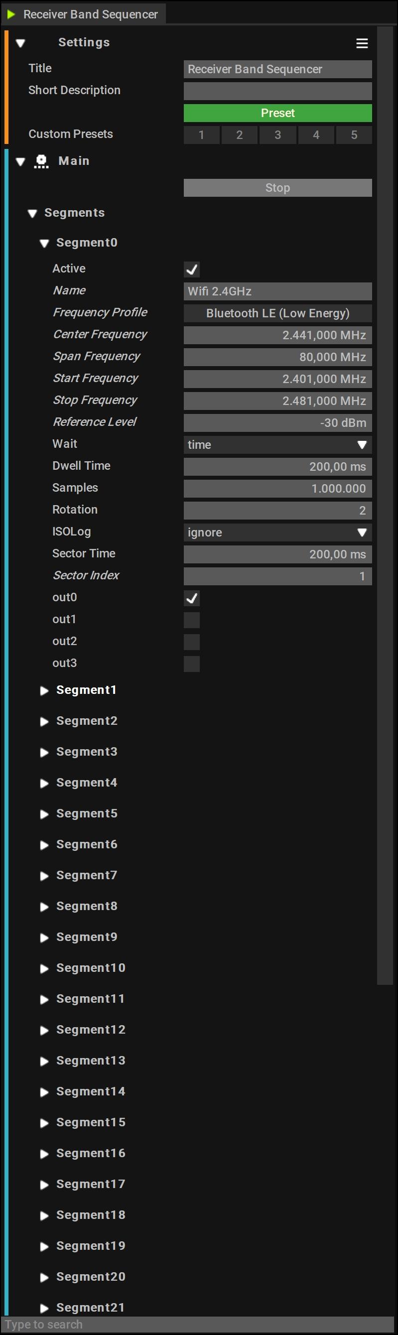 Receiver Band Sequencer Setup