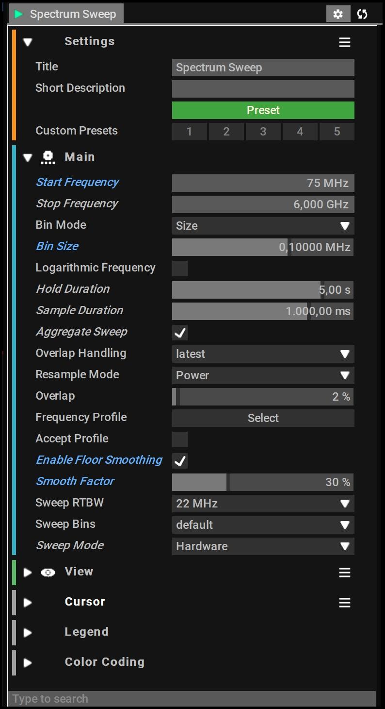 Spectrum Sweep Block Setups