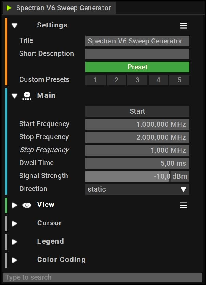 Spectran V6 Sweep Generator Settings
