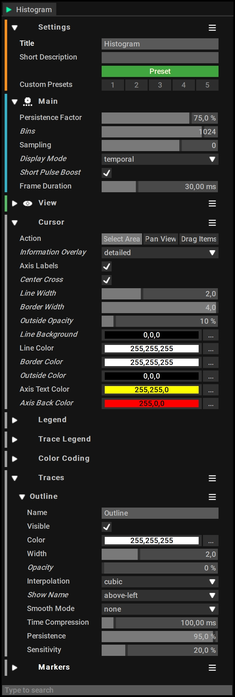 Histogram (Persistance) View Settings