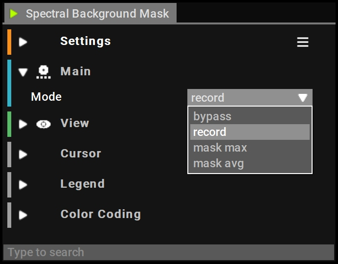 Spectral Background Mask Settings
