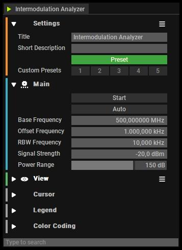 Intermodulation Analyzer Settings