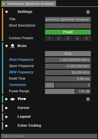 Harmonics Analyzer Settings