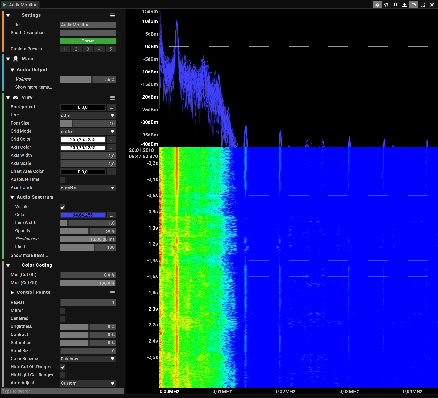 Audio Monitor shows spectrum and Waterfall of a AM/FM signal