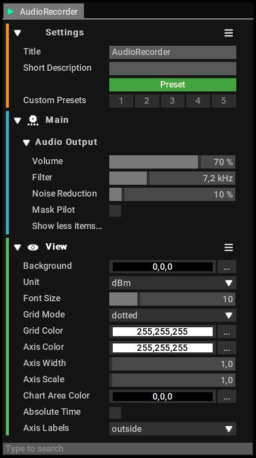 Audio Recorder block settings