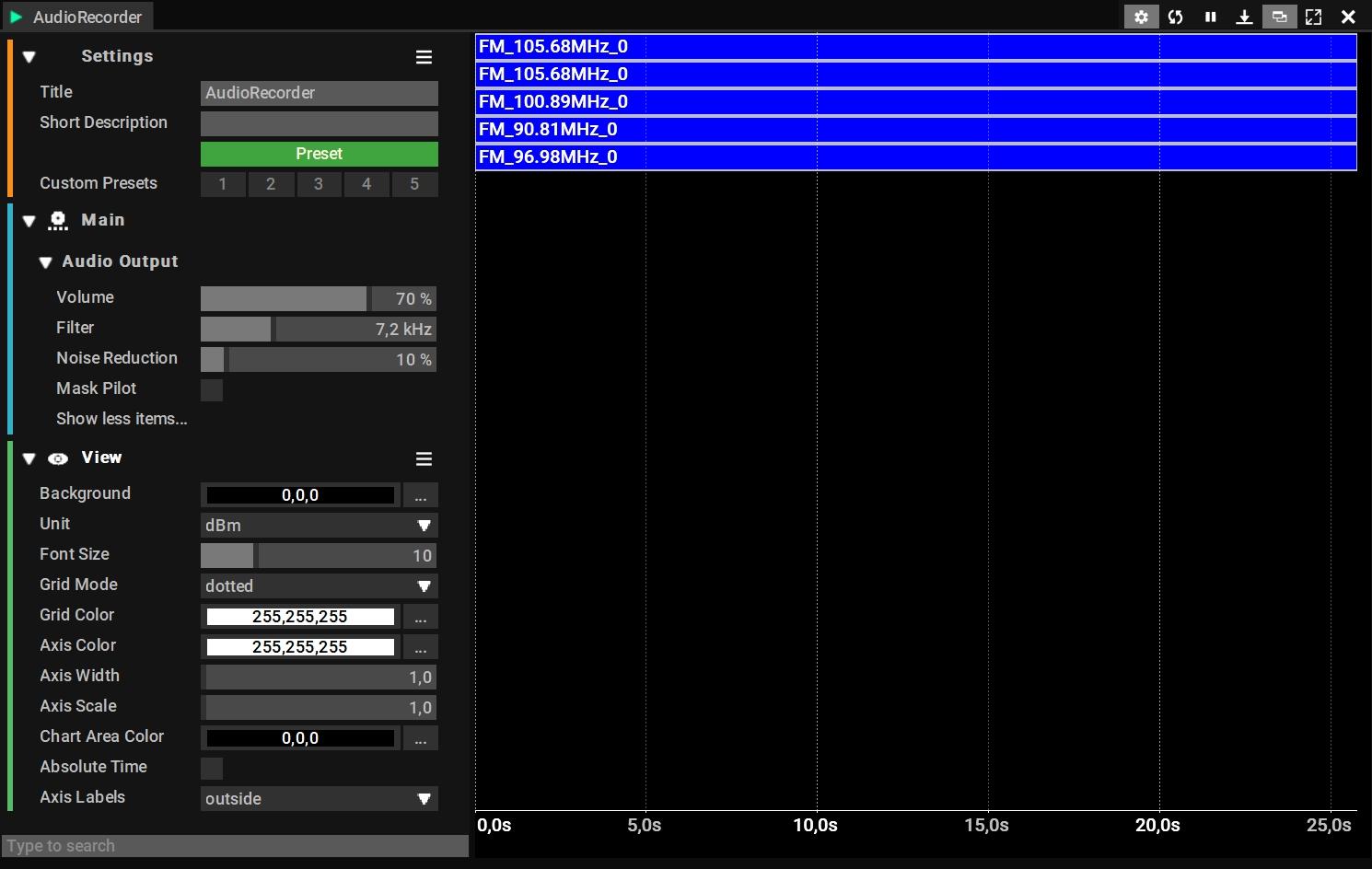 Audio Recoder recording multiple AM/FM channels