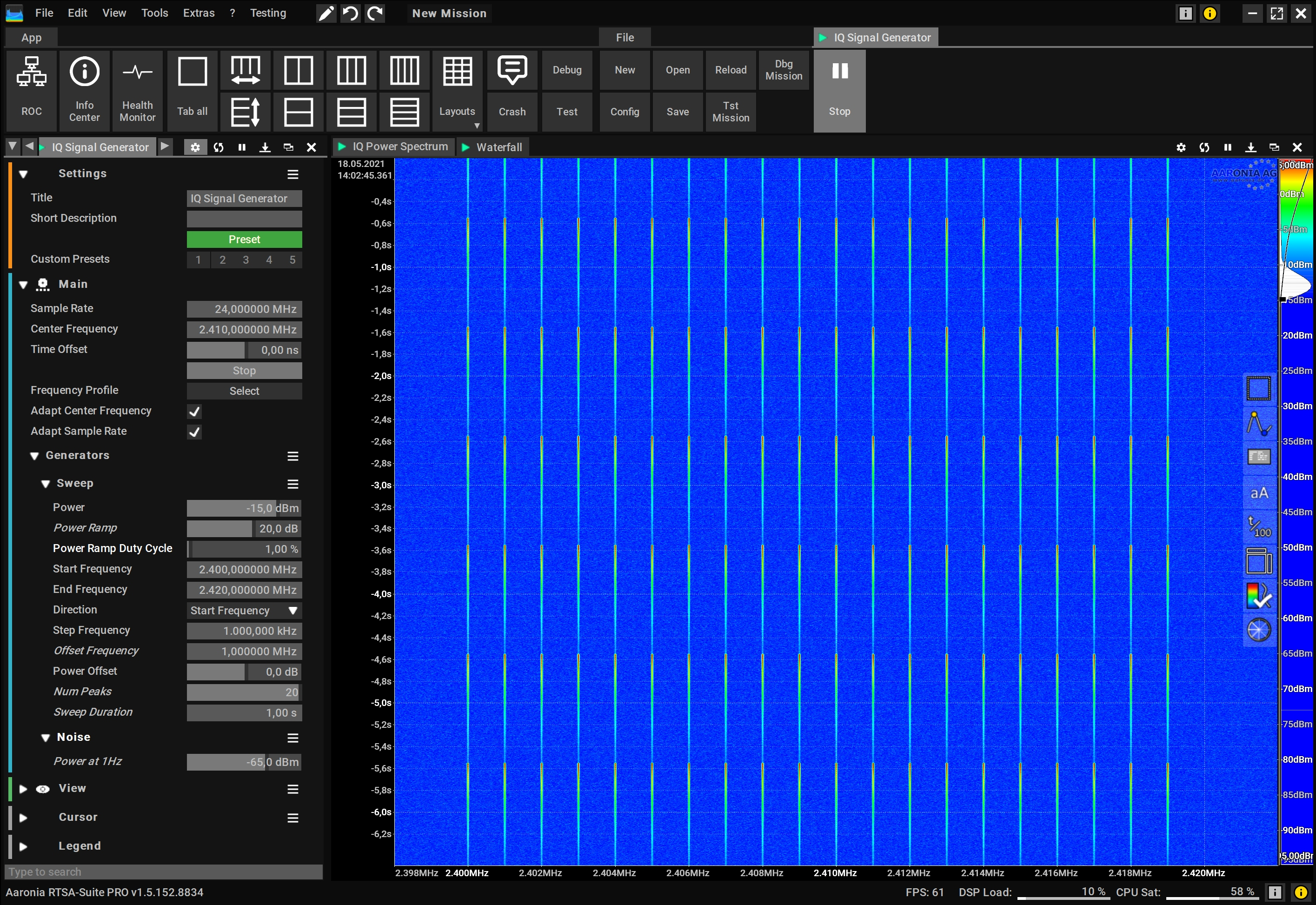 Glitch Free Power Ramp RF Signal Generator