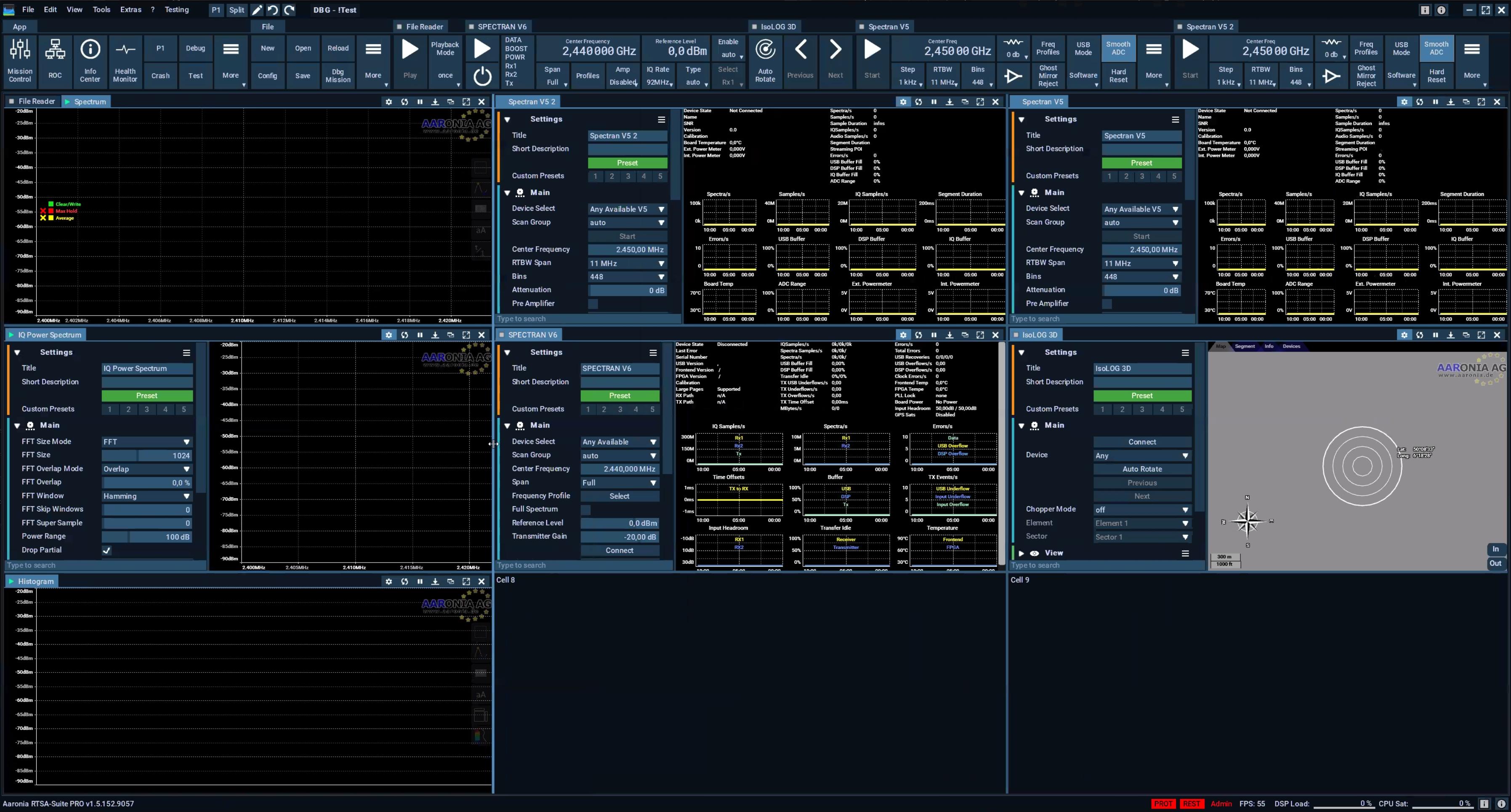BETA screenshot of the new RTSA-Suite PRO GUI