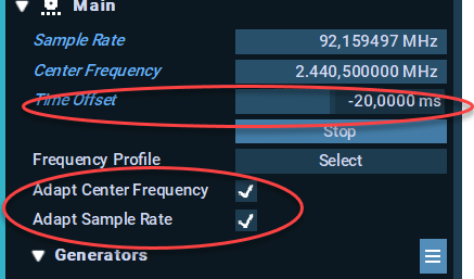 Adjusting the Time Offset for Stream Mode
