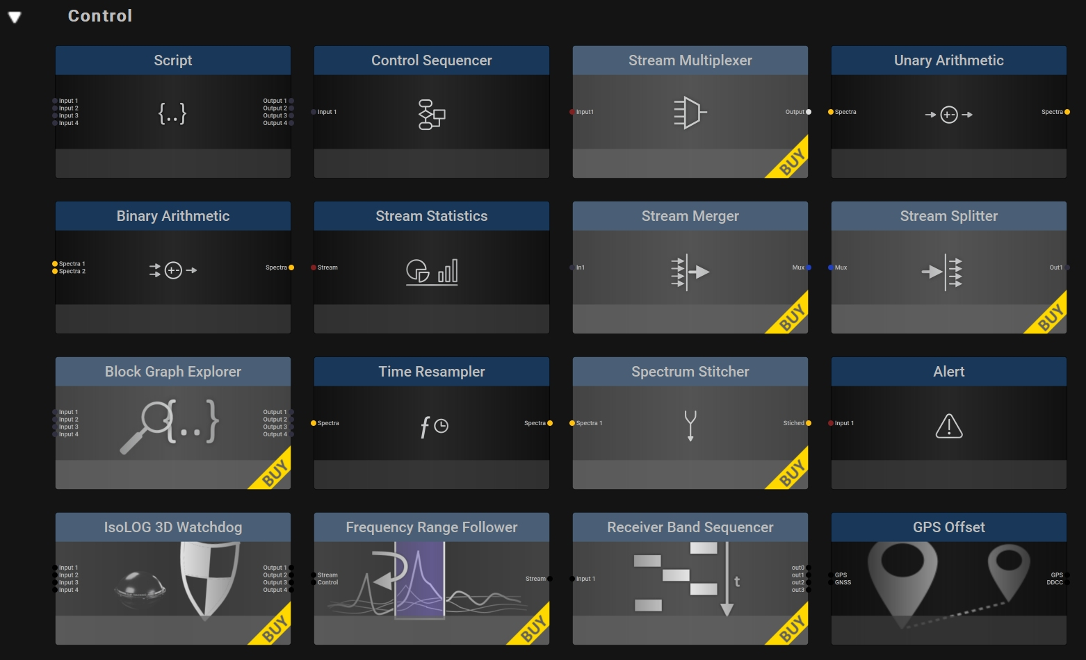 All Control Blocks for the RTSA-Suite PRO Software